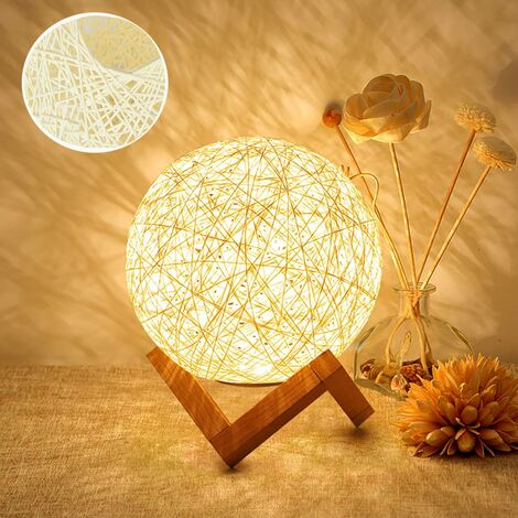 LED Night Light, Bedside Lamp, Rattan and Wood Bedroom Mood Lamp, USB Rechargeable