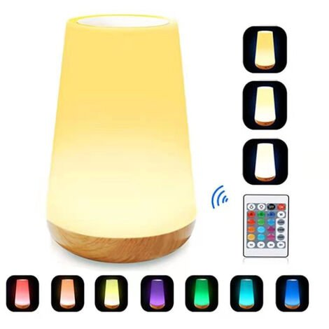 LED night light, colorful bedside lamp, touch night lamp with 13 changing colors, rechargeable table lamp with hot white light for bedroom, baby room and living room