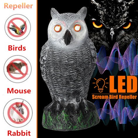 LED ojos voz hogar jardín pájaros repelente caza falso búho señuelo disuasión jardín decoración juguete