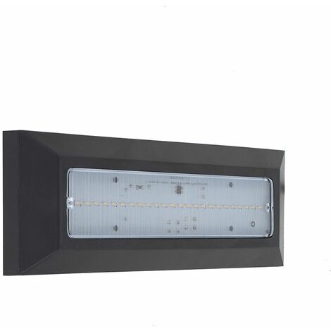 LED Outdoor Black Flush Wall Surface Mounted Pvc & Frosted Glass Brick Light - Ip44 - Grey
