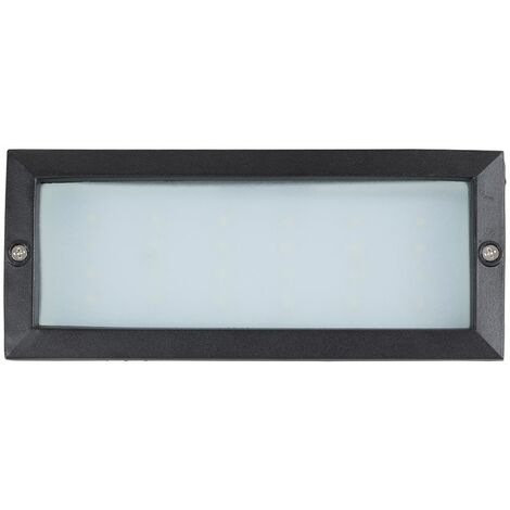LED Outdoor Black & Frosted Glass Brick Light - Ip54 Rated