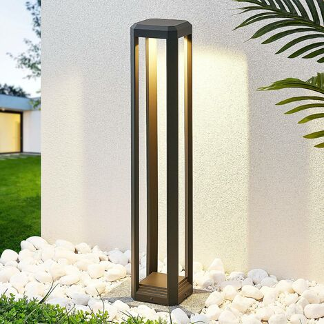 LED Outdoor lights 'Fery' (modern) in Silver made of Aluminium (1 light source, A+) from Lucande | garden light, path light, bollard light, path lamp, pillar light