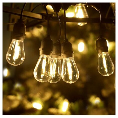 """main image of """"LED Outdoor String Lights, 51Ft Patio Lights Hanging for Garden Backyard Porch Lighting with 15+1 Commercial Grade Waterproof Plastic Edison Vintage Bulbs, Warm Yellow Party Lights"""""""