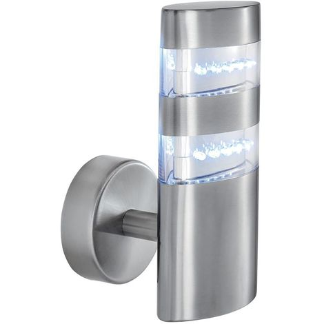 Led outdoor wall light - satin silver oval 24 leds