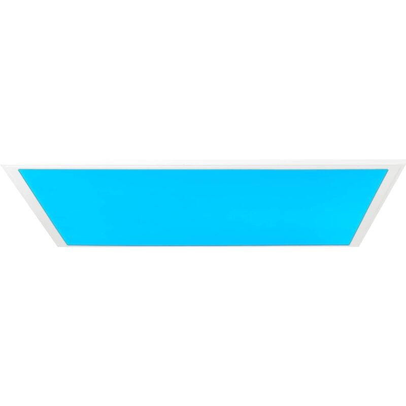 LED Panel Deckenleuchte, 60x60cm, dimmbar, RGB Farbwechsel per Fernbedienung steuerbar, 40 Watt, 2700-6500 Kelvin; Metall/Kunststoff,