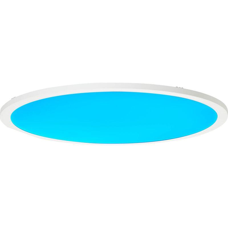 LED Panel Deckenleuchte, Ø60cm, 40 Watt, RGB Farbwechsel per Fernbedienung steuerbar, 2700-6200 Kelvin, Metall/Kunststoff, Weiß-'LB00001466'