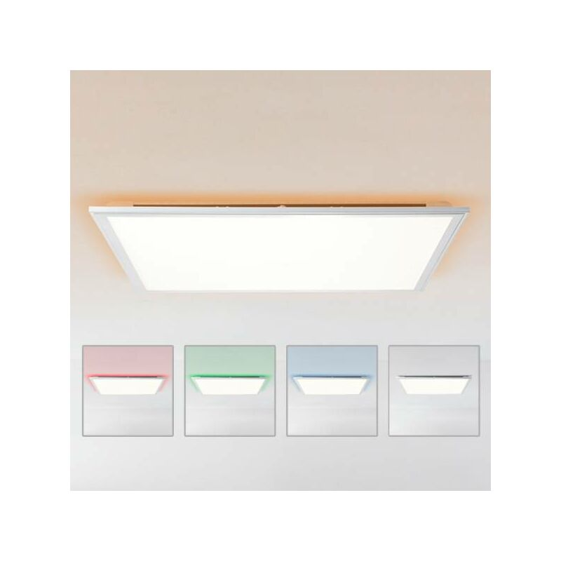 LED Panel Deckenleuchte dimmbar per Fernbedienung, 60x60cm, 42 Watt aus Metall / Kunststoff in silber / weiß-'LB00001413' - LIGHTBOX