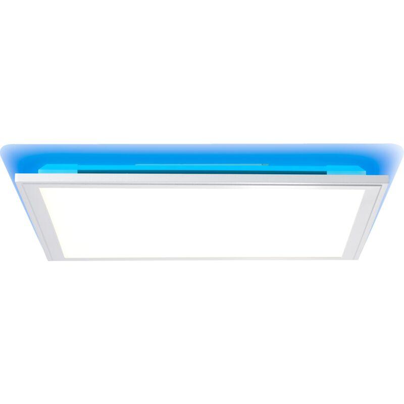 LED Panel Deckenleuchte mit RGB Hintergrundbeleuchtung, dimmbar per Fernbedienung, 40x40cm, 32 Watt aus Metall / Kunststoff in silber /