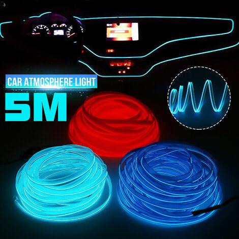LED para el interior del coche, atmósfera luminiscente, alambre de neón, tiras de luces, lámpara de tubo de cuerda (azul hielo)