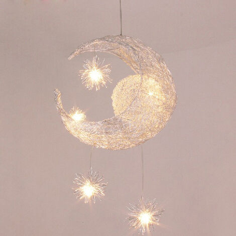 LED Pendant Light Fairy Modern Hanging Light Braided Creative Moon Stars Pendant Light for Cafe Bar Office