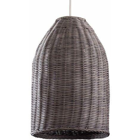 LED Pendant Shade Rattan Wicker Ceiling Grey