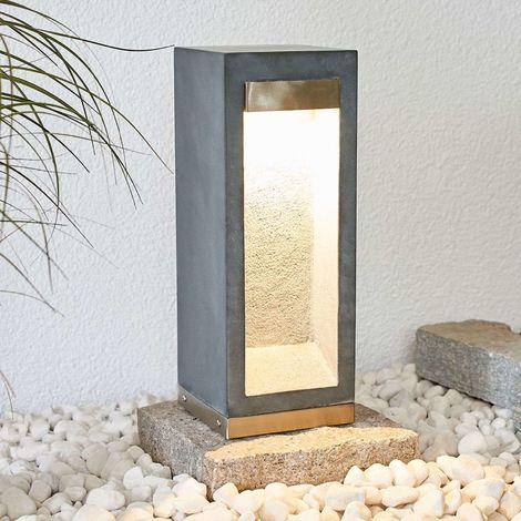 LED pillar lamp Adejan, basalt rock, 40 cm
