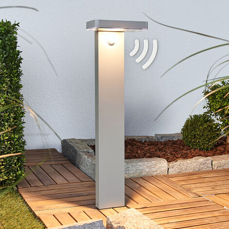 LED pillar light Maik with sensor, solar-powered