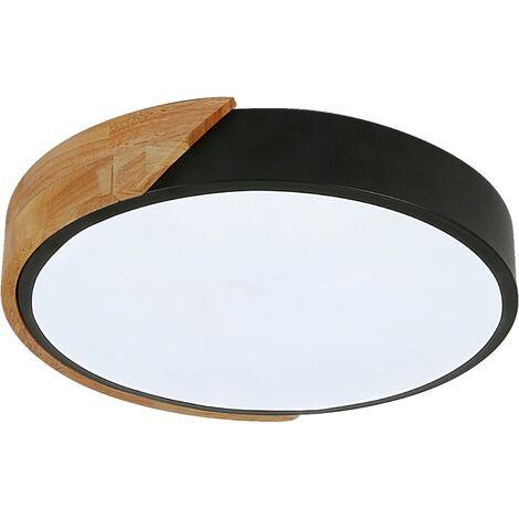 LED Plafonnier, 18W plafonnier boisModerne Rond Blanc Froid 6000K Ø30*5CM Chambre la Cuisine le Salon le Balcon et le Couloir