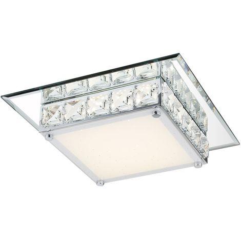 LED plafonnier avec cristaux clairs