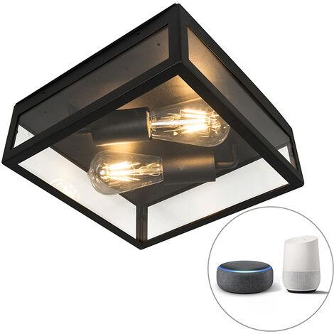 LED Plafonnier d'extérieur Industriel / Vintage intelligent noir avec 2 WiFi ST64 - Rotterdam Qazqa Moderne Luminaire exterieur