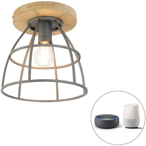LED Plafonnier intelligent noir avec bois avec WiFi E27 - Arthur Qazqa Industriel / Vintage Luminaire interieur Rond