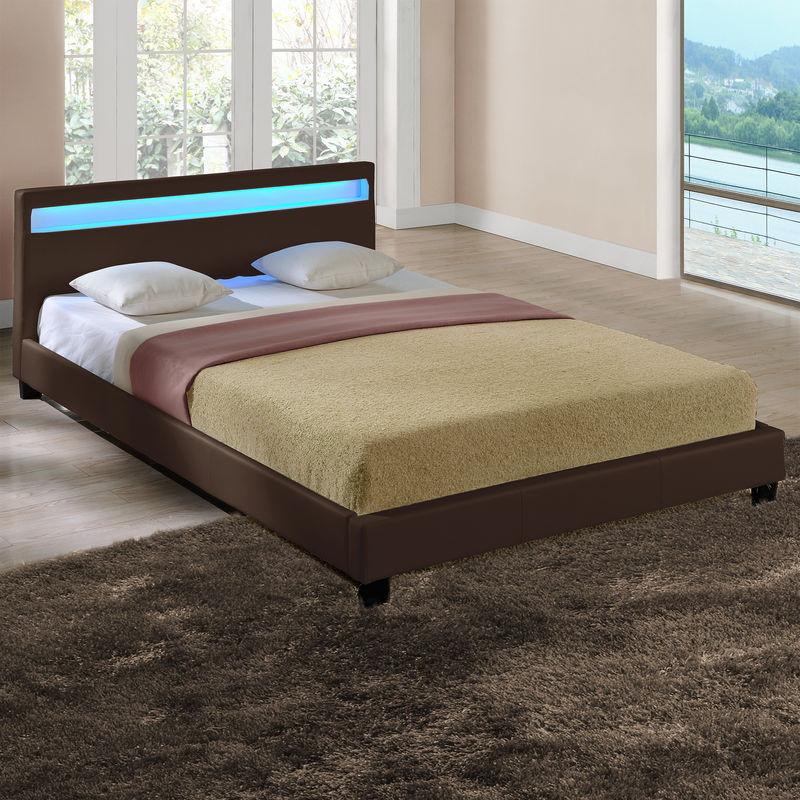 LED Polsterbett 140x200cm Dunkelbraun Kunst-Leder Bett Gestell Doppelbett CORIUM