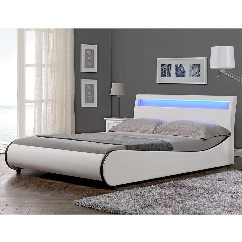 LED Design Polsterbett 140x200cm Weiß Doppel Bett Rahmen Kunst-Leder - Corium