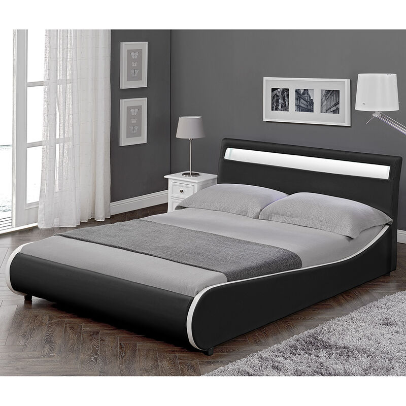 LED Design Polsterbett 180x200cm Schwarz Doppel Bett Rahmen Kunst-Leder CORIUM