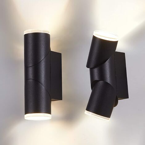 """main image of """"LED Porch Light Outdoor Wall Lamp 2 Pack Up Down Outside Light 14W Patio Wall sconces Rotatable Matt Black 3000K"""""""