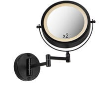 LED Pressostat noir miroir de maquillage rond - Vicino Qazqa Moderne Luminaire interieur IP44