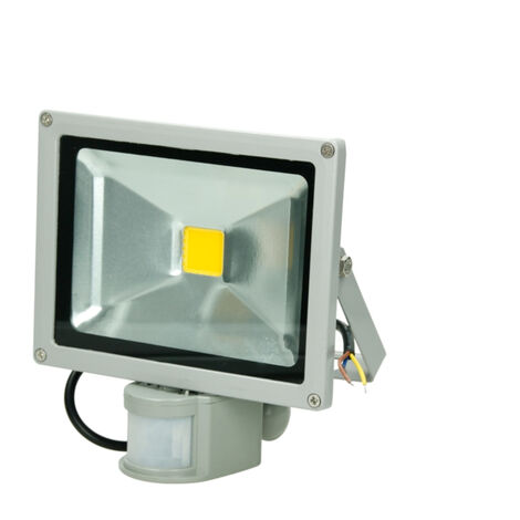 LED Proyector foco 20 vatios sensor de movimiento negro blanco frío SDM jardín