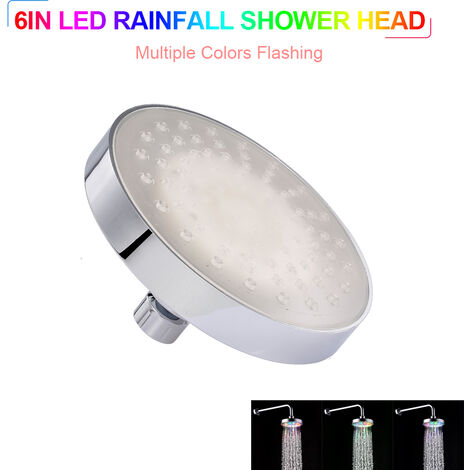 LED Rainfall Shower Head 6inch Round Shower Head Multiple Colors Automatically Color-Changing Showerhead Silver , Multiple Colors LED