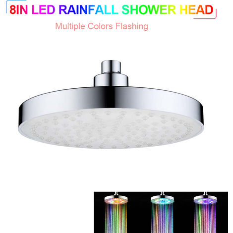 LED Rainfall Shower Head 8 inch Round Shower Head Automatically Color-Changing