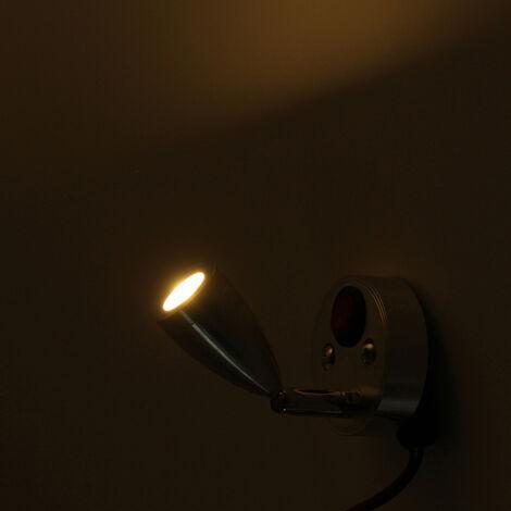LED Reading Light Lamp Interior Bedroom Bedside Wall Lamp 3W On/Off Switch Caravan Cupboard Wardrobe Closet Light white