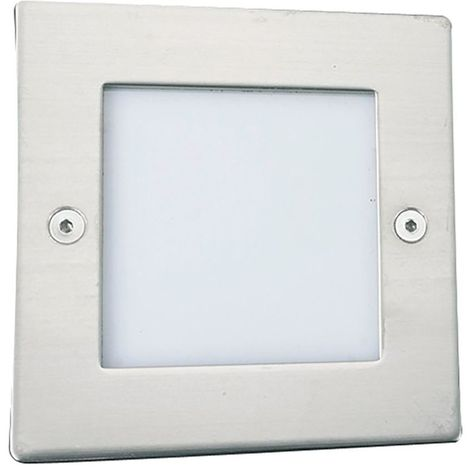 LED RECESSED INDOOR & OUTDOOR LIGHT SQUARE CHROME - WHITE LED