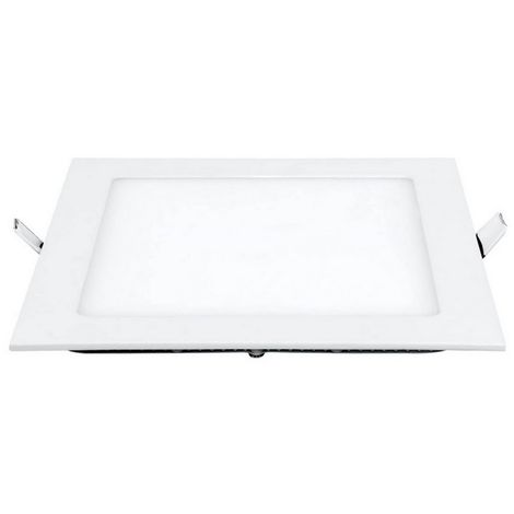 Led Recessed Spotlight - Square - Ceiling, Wall Mounted - White Made of Metal, Acrylic, 25 x 25 x 2,2 cm, 1 x LED, 18W, 1800LM, 3000K