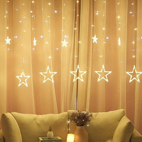 LED Rideau Lumière,Rideau Lumineux,rideau lumineux noel, Noël Guirlande Lumineuse, Noel Rideau Lumière,Noel Guirlande LED, Étoile Lumineuse,Rideau lumineux avec étoiles,Décoration pour Noël
