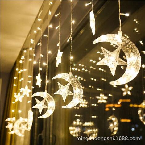 LED Rideau Lumière,Rideau Lumineux,rideau lumineux noel, Noël Guirlande Lumineuse, Noel Rideau Lumière,Noel Guirlande LED, Étoile Lumineuse,Rideau lumineux avec étoiles,Décoration pour Noël .