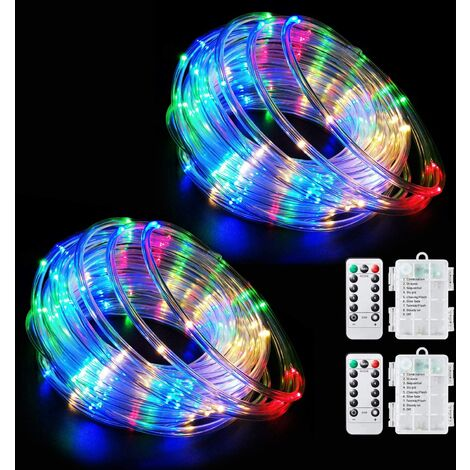 """main image of """"LED rope light battery-powered string light fairy light 32.8 feet 100 LED 8 modes outdoor waterproof dimmable/timer with remote control Christmas garden party decoration multi-color 2 pieces set"""""""