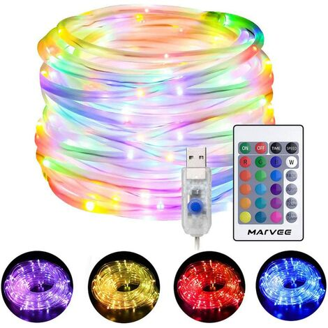 """main image of """"LED Rope Lights Outdoor, 33ft RGB Color Changing String Lights with 100 LEDs, 4 Modes 16 Colors USB Powered Rope Tube Light with Remote, Waterproof, for Christmas Party Indoor Outdoor Decor"""""""