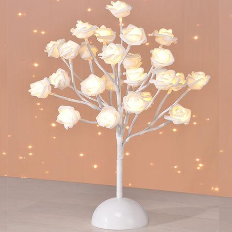 LED-Rosenblütenbaum Weiß H 40 cm-M50018