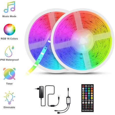 LED Ruban Musical, Fansteck Bande LED 10M (5M*2) 5050 RGB IP65 Lumière Multicolore Bandeau LED Auto-adhésif avec Télécommande Dé
