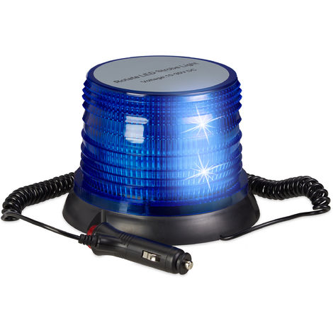 LED Rundumleuchte blau, mit Magnetfuß, Anschluss für Zigarettenanzünder, 10-30V, Blaulicht fürs Auto, blue