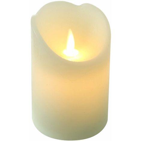 LED Rustik Echtwachs Kerze 12,5 cm Creme mit Timer