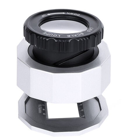 """main image of """"LED Scale Loupe 30X Adjustable Magnification Folding Magnifier Metal Table Type Mirror with Scale Small Size Reading Mirror Jewelry Magnifier with 3 LED Lights 3 UV Lights White,model:White"""""""