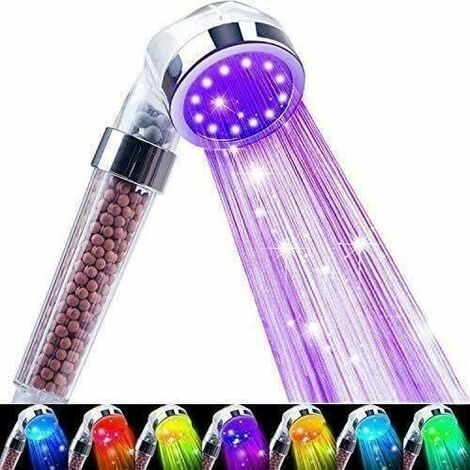 Led Shower Head, Filter Filtration High Pressure Water Saving 7 Colors Automatically No Batteries Needed Spray Handheld Showerheads 1.6 GPM for Dry Skin & Hair