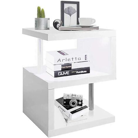 LED Side Table Small Coffee Table White High Gloss End Table 2 Tier Storage Shelves Unit