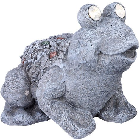 LED solaire stand debout lampe de lampe animal grenouille Figurine décoration Grey Globo 33091