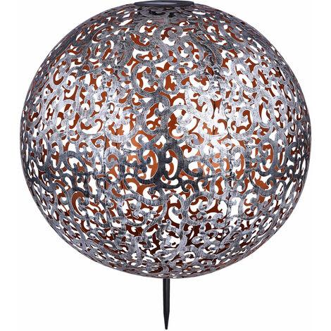 LED solar al aire libre enchufe bola luz parque foco plata patrón decoración tierra punta lámpara Globo 33745