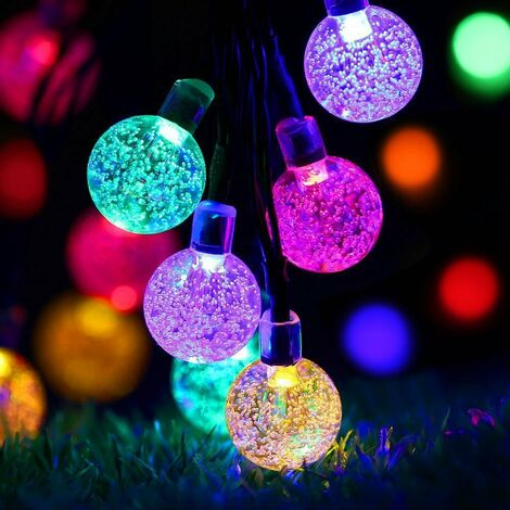 led solar bubble ball lights string crystal ball lights christmas lights outdoor garden decoration lights color solar 6.5 meters 30 lights