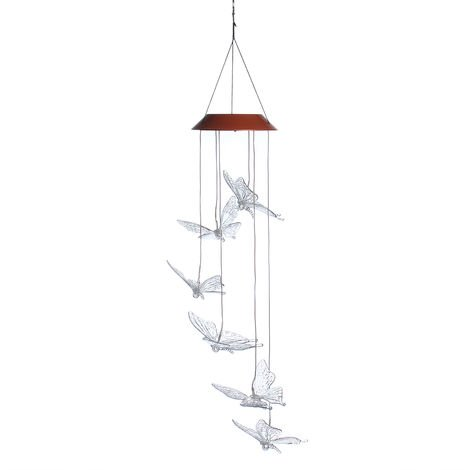 LED Solar Chandelier Wind Chime Butterfly Gardening Outdoor Decor Auto-induction