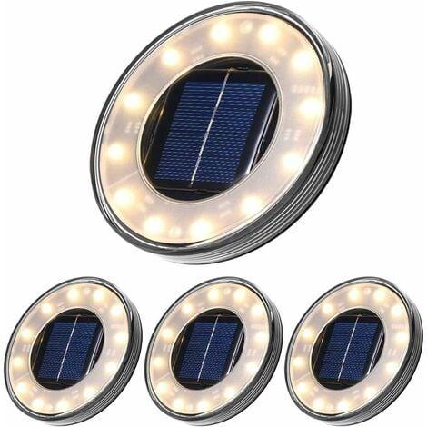 LED Solar Floor Lamp 4 Pack, 12 LEDs Solar Outdoor Lighting, Waterproof IP68, Street Light Lights, Buried Light For Path Garden Terrace Yard Lawn (Warm White)