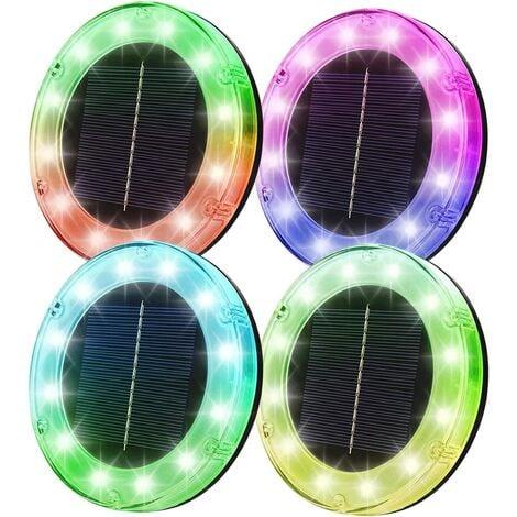 LED Solar Floor Lamp 4 Pack, Motion Detector, 7 RGB Colors, Waterproof IP68, Outdoor Light, Lights Lights, Encevels Light For Road Garden Terrace Lawn Lawn