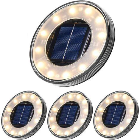 LED Solar Floor Lamp 4 Pack, Tomshine 12 LEDs Solar Outdoor Lighting, Waterproof IP68, Street Light Lights, Buried Light For Path Garden Terrace Courtyard Lawn (Warm White)